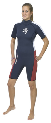 ASCAN Wave Shorty - tough short sleeve Shorty 2.5mm (.1in) strong for women in blue-red, 2x clad